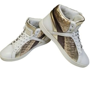 Louis Vuitton White and Gold High Top Sneakers 6